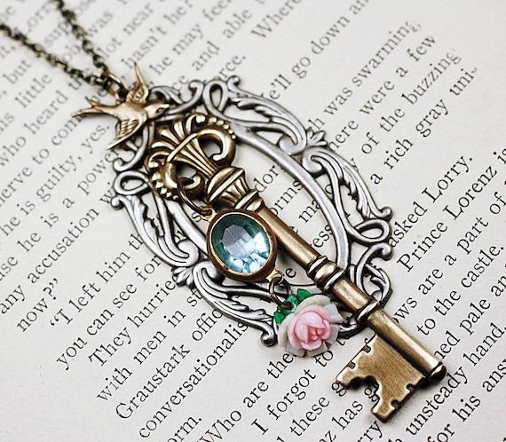 Skeleton key necklace brass bird vintage secret garden rose jewel victorian