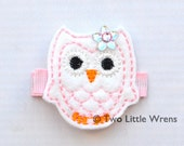 Felt Owl Hair Clip - White and Light Pink Owl Barrette with Swarovski Crystal - Baby Hair Clip to Adult Hair Clip - SPRING SALE - See Shop