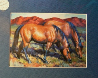 Buckskin Mustang horse reproduction 5x7 giclee print in 8x10 mat equine art by Kerry Nelson
