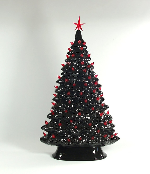 Items similar to ceramic christmas tree black and red made for Christmas tree items list