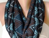SALE-Infinity Scarf Loop Scarf Circle Scarf Cowl Scarf Brown and Blue chevron jersey cowl