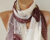 Cinnamon Rose..Elegant Scarf. Tulle Scarf..Romantic Scarf. Cotton Scarf