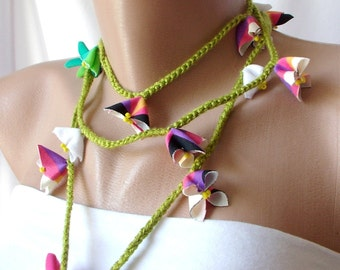 Summer Color Lariat, Necklace, Bracelet, hair band, belt for lots of purpose-OOAK