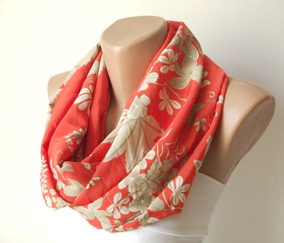 Infinity Scarf Loop Scarf Circle Scarf Cowl Scarf loop Flower handmade from cream and orange coton linen