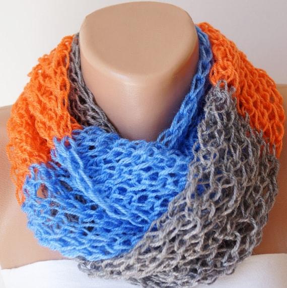 Infinity Scarf, Loop Scarf, Circle Scarf, Winter Cowl - Scarf Grey, Blue, Orange Chunky