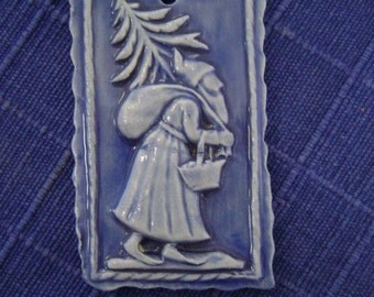Blue Santa Christmas Ornament tile