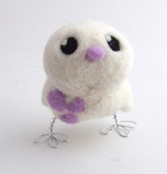 Sale Needlefelted White Bird with Pale lilac Hearts
