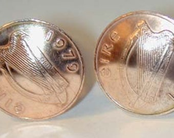 Coin Jewelry-Lucky Irish Penny cufflinks- free shipping