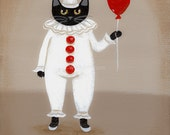 Halloween Clown Costume Cat Original Folk Art Painting
