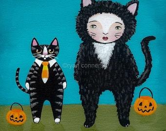 Halloween Girl and Cat Original Folk Art Painting