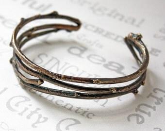 Golden Brass Woodland Cuff Bracelet, Nature Inspired Rustic Twig Bracelet, Unisex Twig Cuff Bracelet