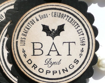 Halloween Tags - Candy Bag Labels - Bat Droppings GLOSS EFFECT - Set of  6 - Handmade on Etsy -