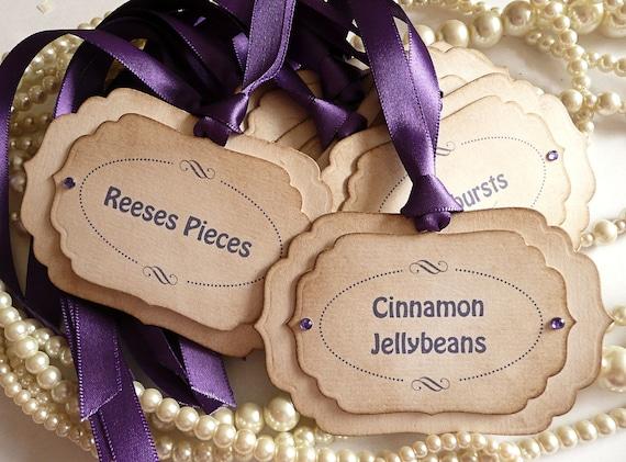 Luxury Candy Buffet Tags - Purple - Custom Listing