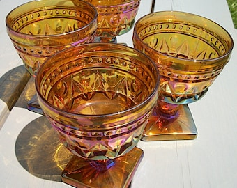 Carnival Glass Footed Sherbet Dessert Dishes Goblets