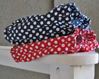 Diaper covers/  bloomers, match any dress in the shop!  shorts baby toddler, red white navy blue polka dots 0-6, 6-12, 12-18