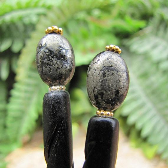 """Pyrite Carved Bone Hair Sticks - 4-1/2"""""""