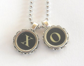 Love Typewriter Key Necklace Hugs and Kisses Wedding Gift  Anniversary Gift