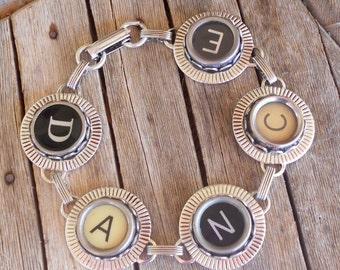 Typewriter Key Bracelet Jewelry , Dance,  Retro, Recycyled, Reclaimed, Vintage - Custom Orders Welcome