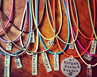One Word Tag in Sterling Silver and FREE cord