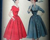 Vintage Butterick Full Skirt Day dress Pattern great details