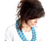 Braided Arrow Necklace Teal and Dove Grey
