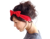 Red Skinny Bow Tie Headband