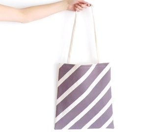 Canvas Tote Bag Lavender Barber Stripe