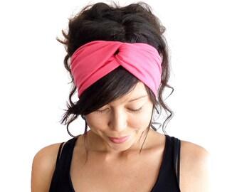 Turban Headband // Turband // Hair Wrap // Twist Headband // Fabric Hairband // Fashion Turban // Hot Pink // Dark Coral Pink // Barbie Pink