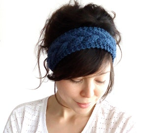 Braided Cable Knit Headband Denim Blue 100% Merino Wool Other Colours Available