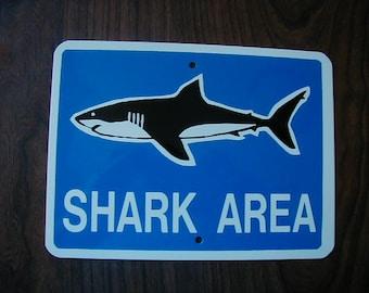 Aluminum Shark Area Mini Traffic Sign.    FREE SHIPPING