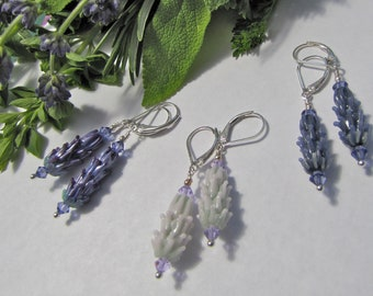 Lavender Glass Bead Earrings in Purple Rose, Pale Pink or Periwinkle Color