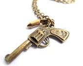 Pistol Necklace - Gun Bullet Pendant - Bronze Brass Neckalce - The Walking Dead - Free Shipping Etsy
