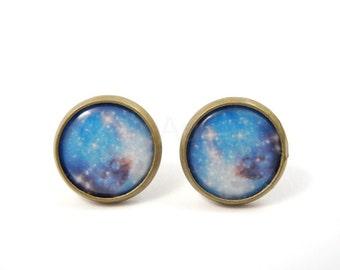 Blue Galaxy Earring Studs,Astronomy Jewelry,Space Jewelry,Nebula Earring Posts,Planet Jewelry,Space Jewelry,Universe Jewelry (E119)