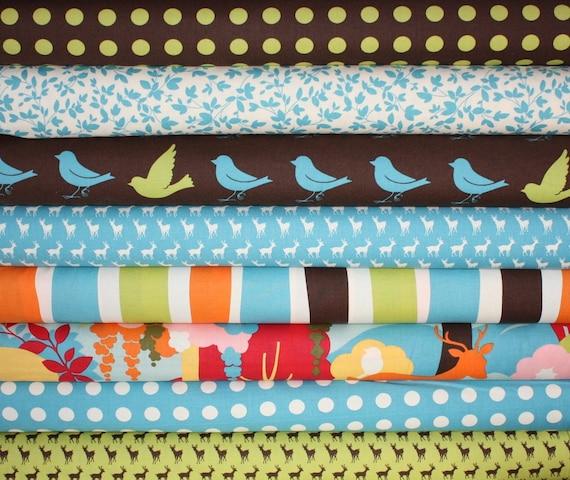 Oh Deer Japanese quilt fabric bundle by Momo for Moda - Blue Fat Quarter Bundle- 8 total