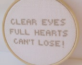 Friday Night Lights Quote: Embroidery Hoop Art, Wall Art.  Embroidered sign. football. Pop Culture Embroidery. Minimalist decor