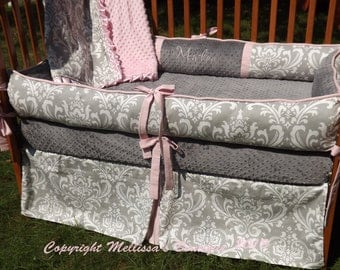 Custom Grey Damask with Baby Pink Accent 4-Piece Complete Boutique with Piping and Ruffles Crib Nursery Bedding Set