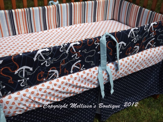 Custom Boutique Anchors Away Nautical Baby Nursery 3-Piece Crib Bedding Set made with fabric by Dear Stella