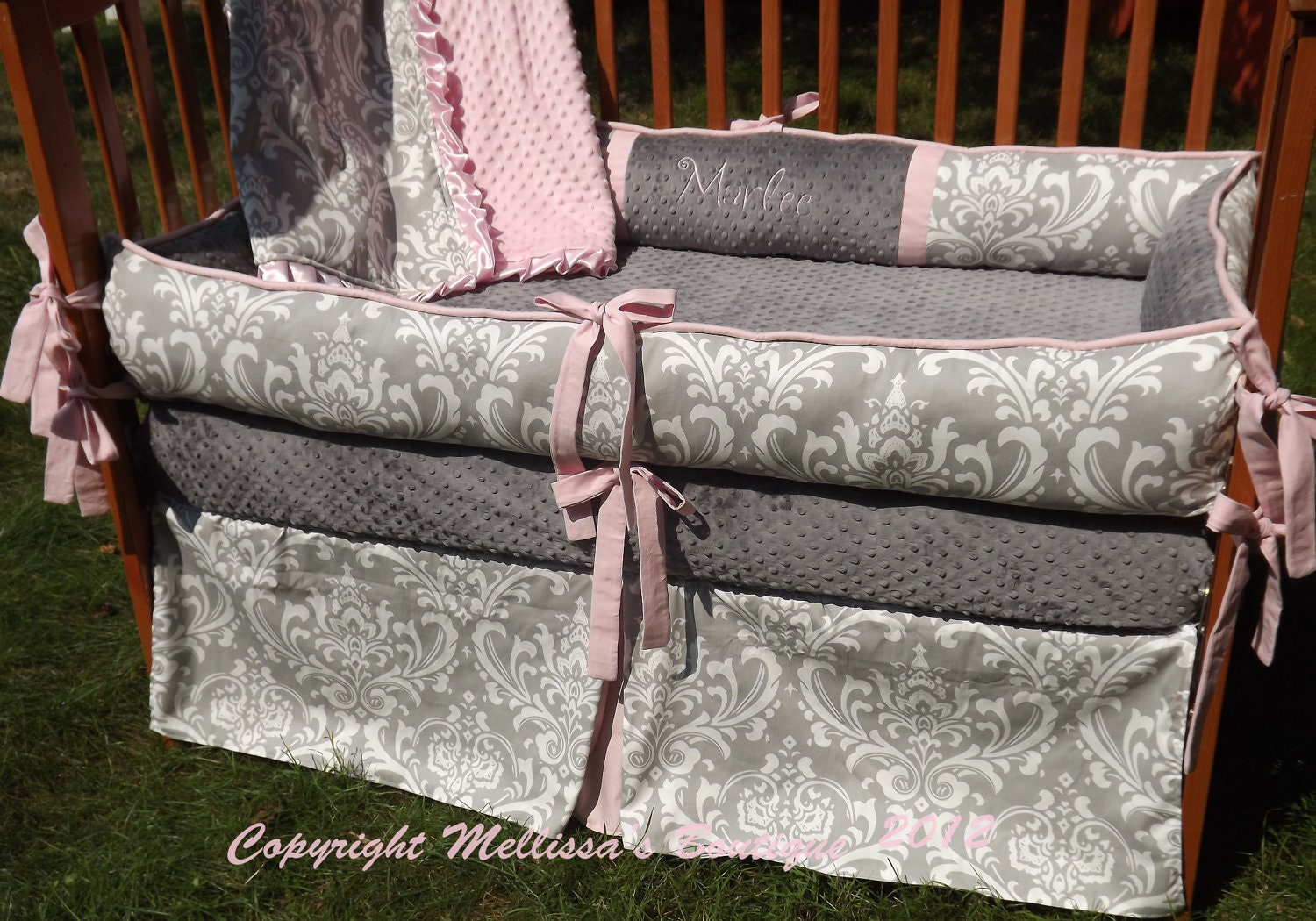 Custom Grey Damask With Baby Pink Accent 4-Piece Complete