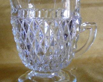Vintage Clear Daimond Cut Glass Creamer Pitcher