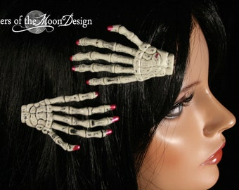 Skeleton hand hair clips barrette pair with painted matallic pink nails gothic creepy halloween -- Sisters of the Moon