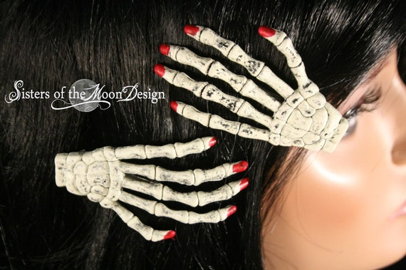 Skeleton hands hair clips with painted red nails pair -- Sisters of the Moon