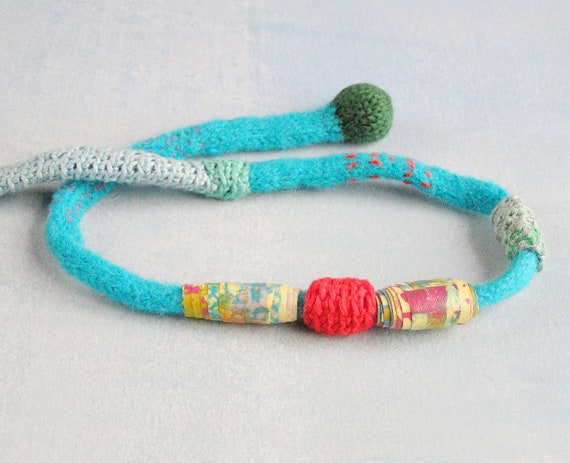 Fiber art  necklace -  textile jewelry - crochet choker   -   turquoise Blue  red textile necklace