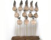 12 Oglala Lakota Virtues Original Driftwood Twig Brass Feather Dynamic Sculpture Chime by Tanja Sova