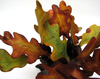 Fine Art Fall Leaves Colors Bonsai Oak Rustic Trinket or Ring Wooden Box Sculpture by Tanja Sova