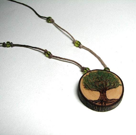 Tree Peridot Bead Hemp Rustic Twig Wooden Necklace by Tanja Sova