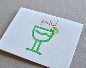 Gracias Margarita Letterpress Thank You Greeting Card with Envelope