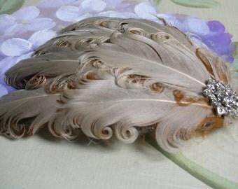 New handmade 1920s inspired beige feather fascinator