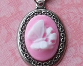Butterfly Cameo Necklace - in Pink Red or Black