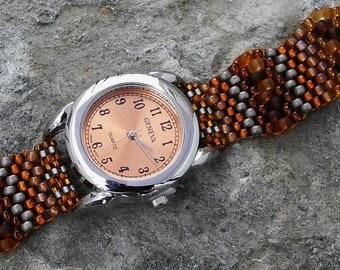 Father Time Tangy Orange - Free Form Peyote Stitch Beaded Watch Bracelet