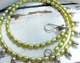 Handcrafted Artisan Lemon Lime Green Fresh Water Pearl Sterling Silver Dangle Charms Boho Hippie Summer Festival Gift for Her Necklace